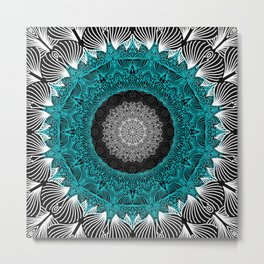 Sky Blue Mandala Metal Print