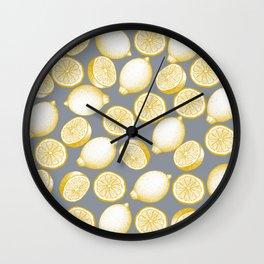 Lemons On Grey Background Wall Clock