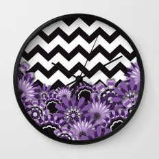 Purple Flower Chevron Wall Clock