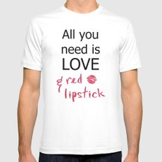 All you need is LOVE & red lipstick MEDIUM Mens Fitted Tee White