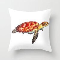 turtle Throw Pillows featuring Turtle by Alexander Cox