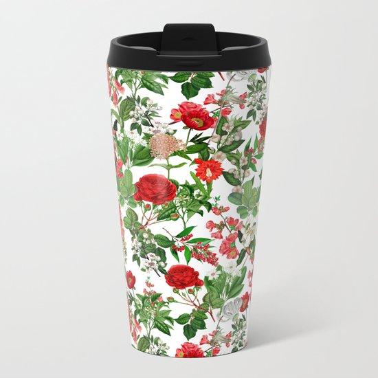 Seamles Botanical Pattern Metal Travel Mug