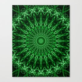 Mandala with dark and light green tones Canvas Print