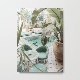 Travel Photography Art Print | Tropical Plant Leaves In Marrakech Photo | Green Pool Interior Design Metal Print
