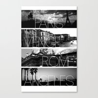 cityscape Canvas Prints featuring CITYSCAPE by Grafikki Shop