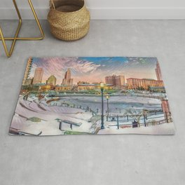 Winter Dreams - Providence, Rhode Island on a Winter's Day landscape Rug