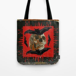 GRUNGY HALLOWEEN BAT INFESTED HAUNTED SKULL Tote Bag