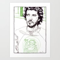flight of the conchords Art Prints featuring Bret Mckenzie of Flight of the Conchords by Aaron Bir by Aaron Bir
