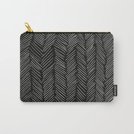 Herringbone Cream on Black Carry-All Pouch