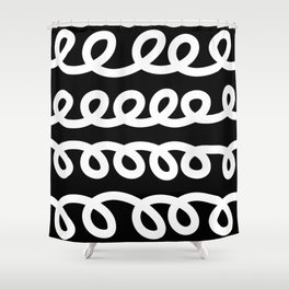 Loops abstract black and white pattern Shower Curtain