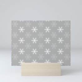 Snowflake Pattern   Winter   Hygge   Scandi   Grey and White   Mini Art Print