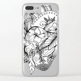 corazón con flores blanco y negro Clear iPhone Case