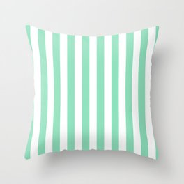 Vertical Stripes (Mint & White Pattern) Throw Pillow