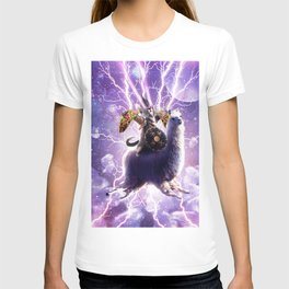 Lazer Warrior Space Cat Riding Llama With Taco T-shirt
