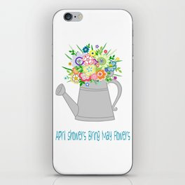 Watering Can with Whimsical Flowers iPhone Skin