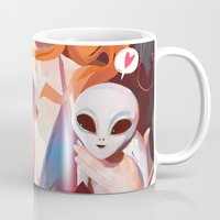 gravity Mugs featuring GRAVITY by Javier G. Pacheco