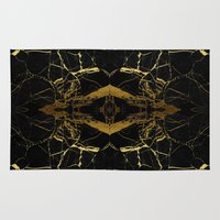 black and gold Area & Throw Rugs featuring Black & Gold by Coconuts & Shrimps