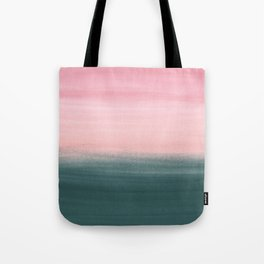 Touching Teal Pink Watercolor Abstract #1 #painting #decor #art #society6 Tote Bag