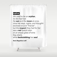 "poem Shower Curtains featuring ""NAIVE"" - POEM by Maria Magdeleina"