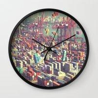 tetris Wall Clocks featuring Pier Tetris by Ivan Guerrero
