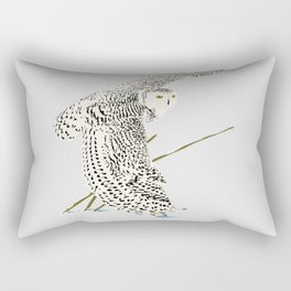 The snowy owl in flight with his wing touching the snow Rectangular Pillow