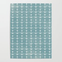 Rustic vintage blue white nautical marine anchor Poster
