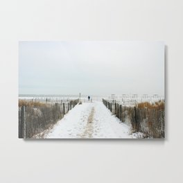 Snow Covered Beach Metal Print