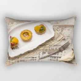 Three fruit tarts presented on an elegant antique china plate Rectangular Pillow