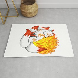 Fiery Red Kitsune Fox Rug