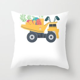 Easter Dump Truck Design With Eggs Carrots Bunny Ears Throw Pillow