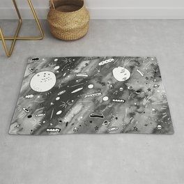 Flying to the Moon Outer Space B/W illustration Rug