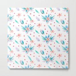 Pastel coral teal watercolor floral polka dots pattern. Metal Print