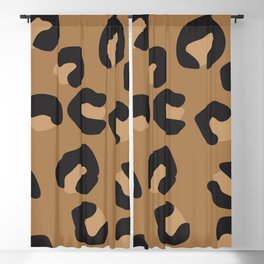 Tan and Black Large Leopard Print Blackout Curtain