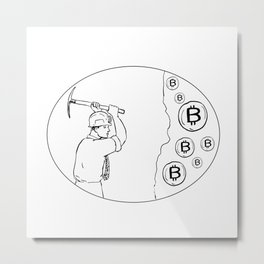 Bitcoin Miner Cryptocurrency Drawing Metal Print