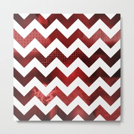 Chevron Reds Metal Print