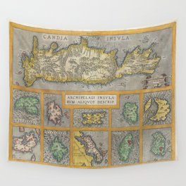 Vintage Map of The Islands of Greece (1584) Wall Tapestry
