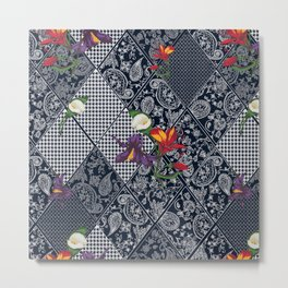 Seamless background lace, paisley and pied-de-poule, houndstooth design Metal Print