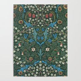 William Morris Blackthorn Wallpaper Block Print Pattern, 1892 Poster