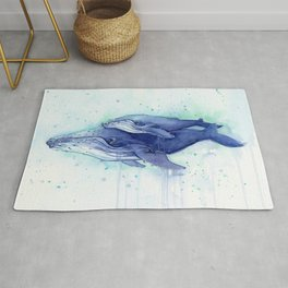 Humpback Whale Watercolor Mom and Baby Painting Whales Sea Creatures Rug