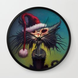 Zombie Cat Christmas Wall Clock