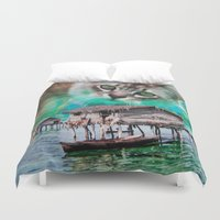 meow Duvet Covers featuring Meow by John Turck