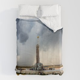 Nevermind the Weather - Oil Rig and Passing Storm in Oklahoma Comforters