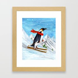 Penguin Alpine Skiing Framed Art Print