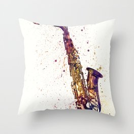An abstract watercolor print of a Saxophone Throw Pillow