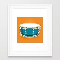 drum Framed Art Prints featuring Drum - Orange by Ornaart