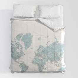 Where I've never been detailed world map in blue Comforters