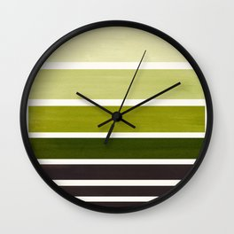 Olive Green Minimalist Watercolor Mid Century Staggered Stripes Rothko Color Block Geometric Art Wall Clock