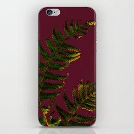 Fern on burgundy iPhone Skin