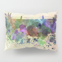 Budapest skyline in watercolor background Pillow Sham