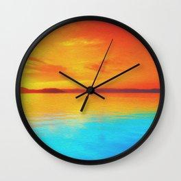 sunset beachh Wall Clock